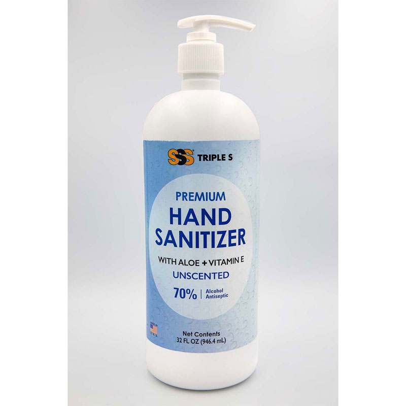 SSS Gel Hand Sanitizer With Pump Top (70% Alcohol) 32oz, 12/Cs
