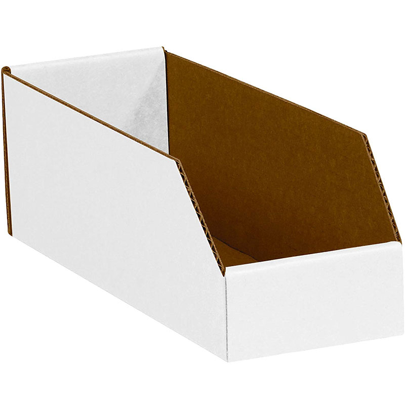 "4"" x 12"" x 4 1/2"" White Open Top Bin Box"
