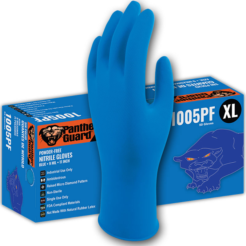 9 Mil Industrial Grade Blue Nitrile Gloves Powder-Free, 11 Inch Length. Xlarge 50/Box