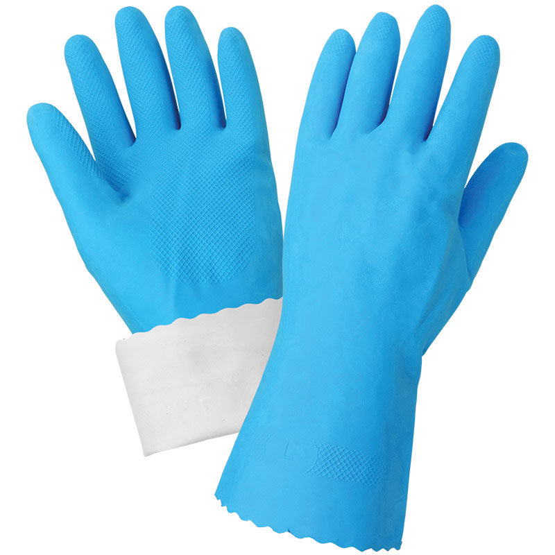 "Flocklined 18Mil Latex Blue 12"" Length, Large, 12 Pair/Pkg"