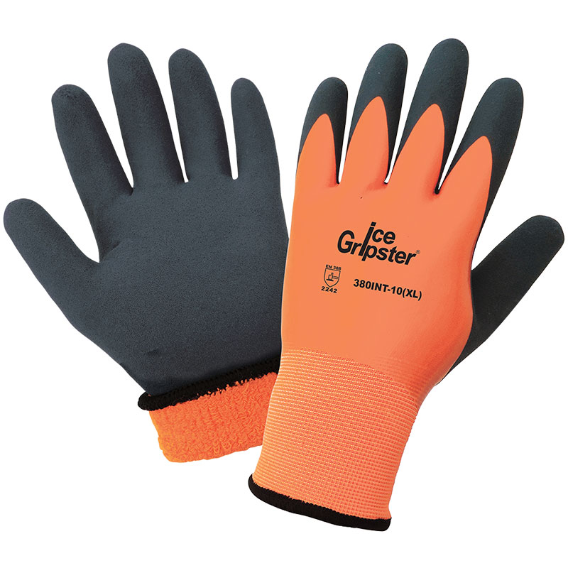 Ice Gripster® - High-Visibility Water Resistant Low Temperature Gloves. Large 12/Pkg