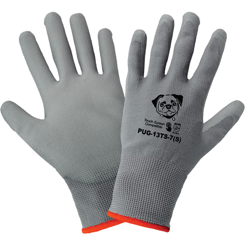 <strong>PUG13</strong> Gray Polyurethane / 13-Gauge <strong>Touch Screen Compatible Nylon Gloves.</strong> Large. 12/Pair/Pkg