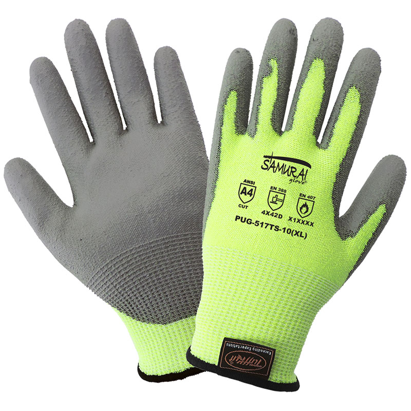 Samurai Gloves, Cut Resistant Liner With Gray Polyurethane Dipped Palm, 3 Touchscreen Responsive Fingertips, ANIS Cut Level A4, Large, 12 Pair/Pkg