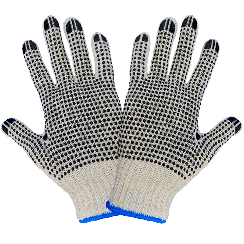 Natural String Knit 2-Sided PVC Dotted Gloves, Mens 12 Pair/Pkg
