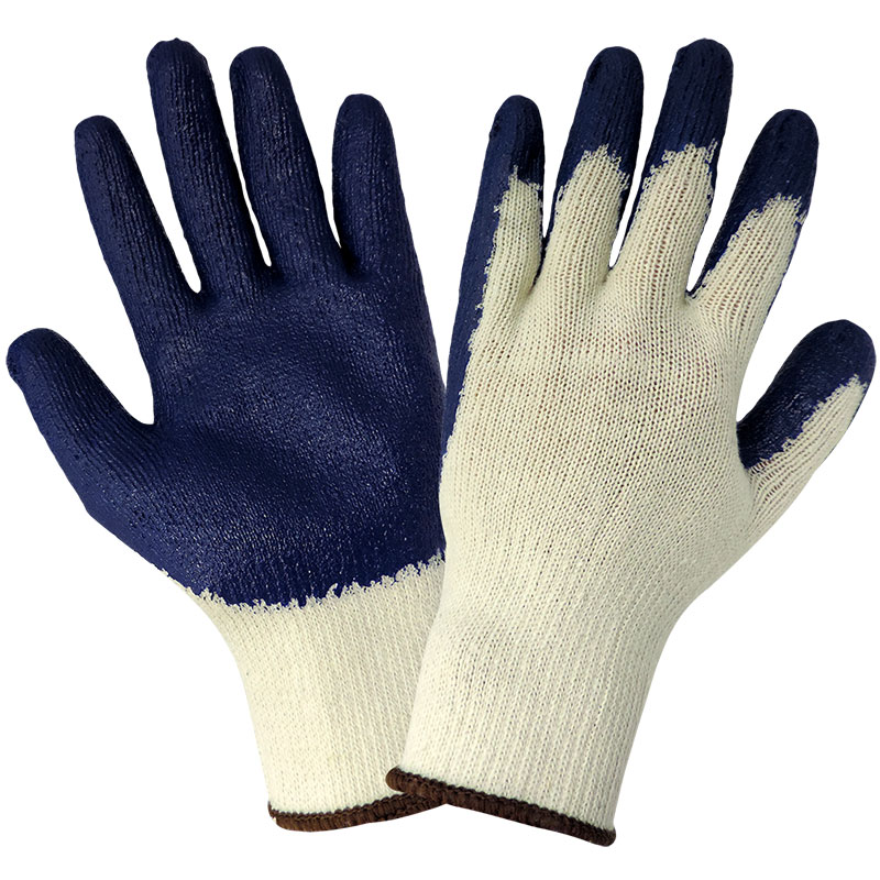 Blue Latex Medium Weight String Knit Glove - Extra Large, 12/Pair/Pkg