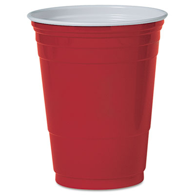Solo® Party Plastic Cold Cups - 16 oz. Red 1000/Cs