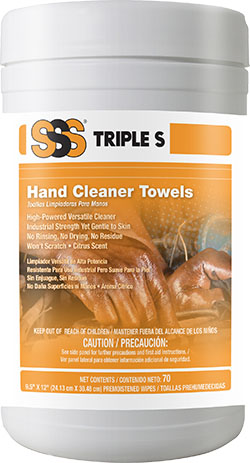 Triple S® Hand Cleaner Towels 70/Canister 6/Case