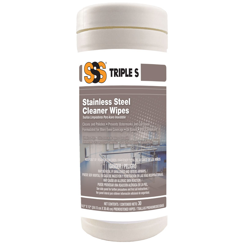 Triple S® Stainless Steel Cleaner Wipes, 30/Canister. 6/Cs.