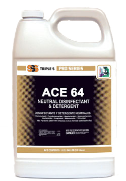 Ace 64 Neutral Disinfectant and Detergent. 1 Gallon. 4/Cs