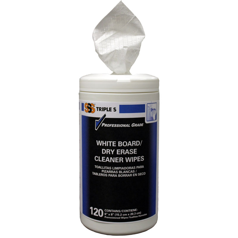 Triple S® White Board/Dry-Erase Cleaner Wipes. 120 canister, 6/cs