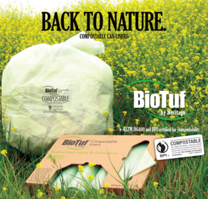 "42"" x 48"" BioTuf Compostable Liners. 1.0 mil. 100/Cs"