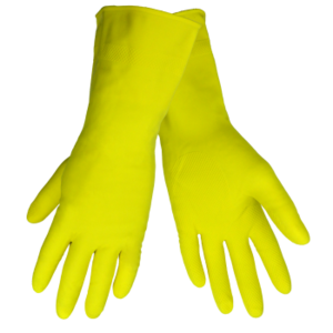 Latex Gloves, 18 mil Yellow Flock Lined, Small. 12 Pairs