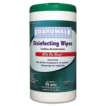Boardwalk® Disinfecting Wipes, Fresh Scent, 75/Canister. 6/Cs