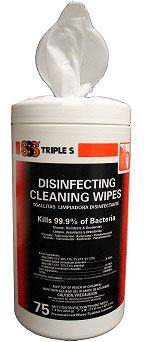 Triple S® Disinfectant Cleaning Wipes, 75 Canister, 6/Case