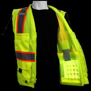 Reflective Class 2 Safety Surveyors Vest with Inside Ipad tablet pocket.  Orange dd2ef4e6ccf