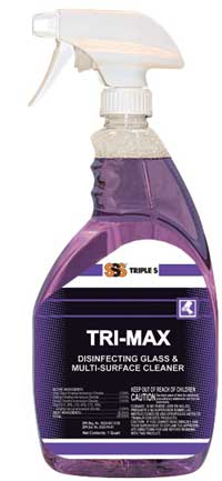 Tri-Max Disinfecting Glass & Multi-Surface Cleaner. 12/1 Qt.