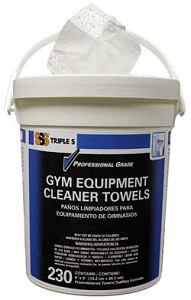 Triple S® Gym Equipment Cleaner Towels. 230 Canister, 6/Cs