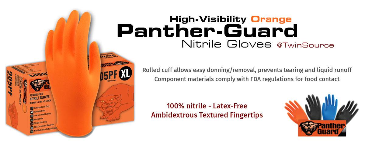 Panther Guard High-Visibility Orange Nitrile Gloves