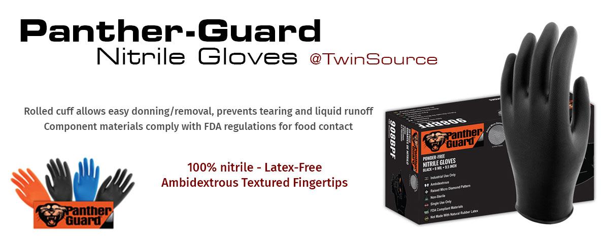 Panther Guard Industrial Grade Black Nitrile Gloves