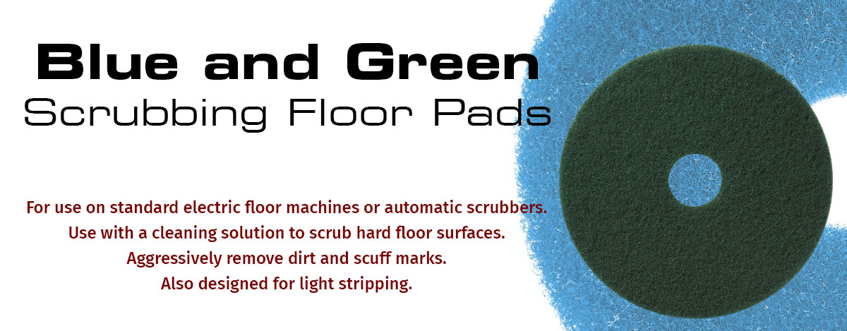 Blue and Green Floor Scrubbing Pads