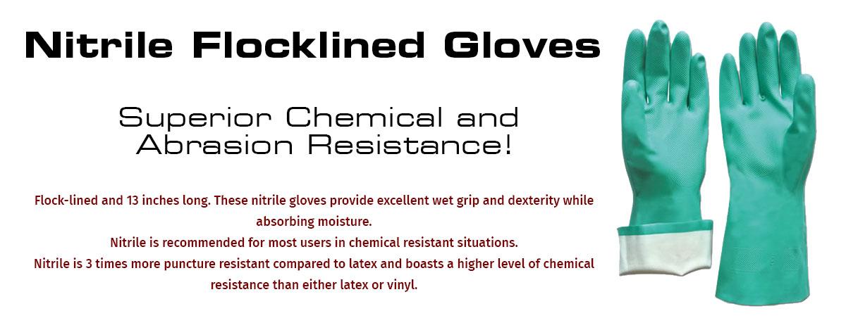 Flock Lined Nitrile Gloves