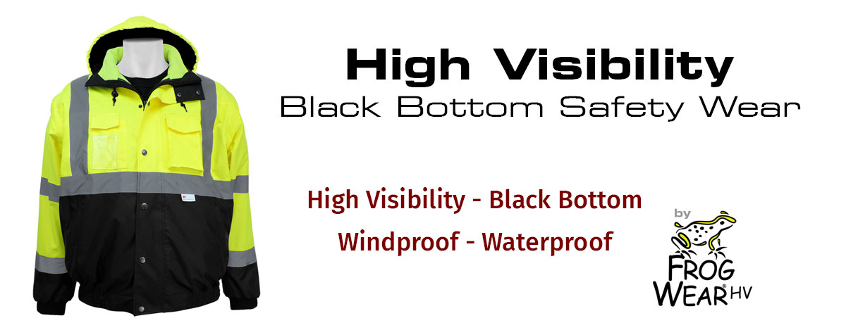 High Visability Black Bottom Safety Wear by FrogWear HV