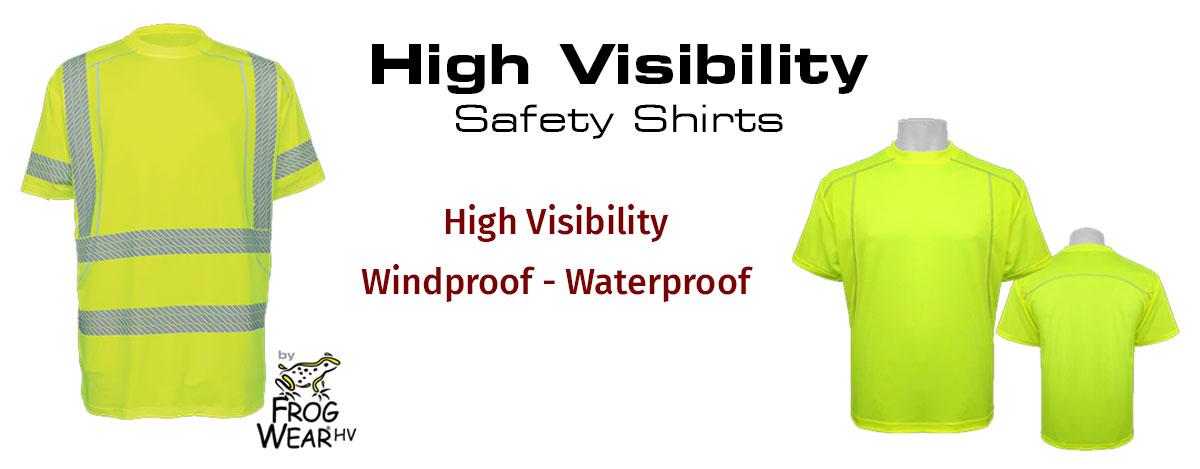 High Visability Black Bottom Safety Shirts by FrogWear HV