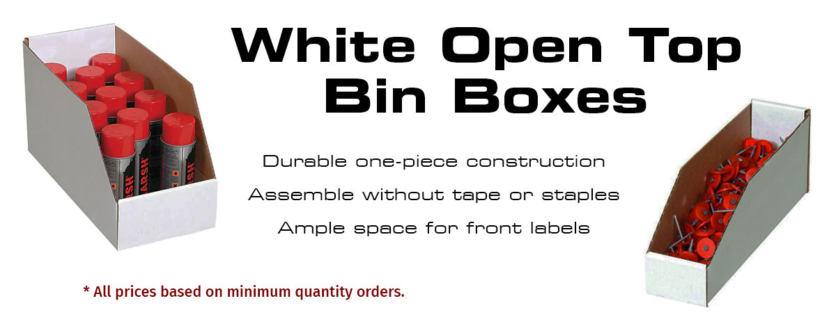White Open Top Bin Boxes