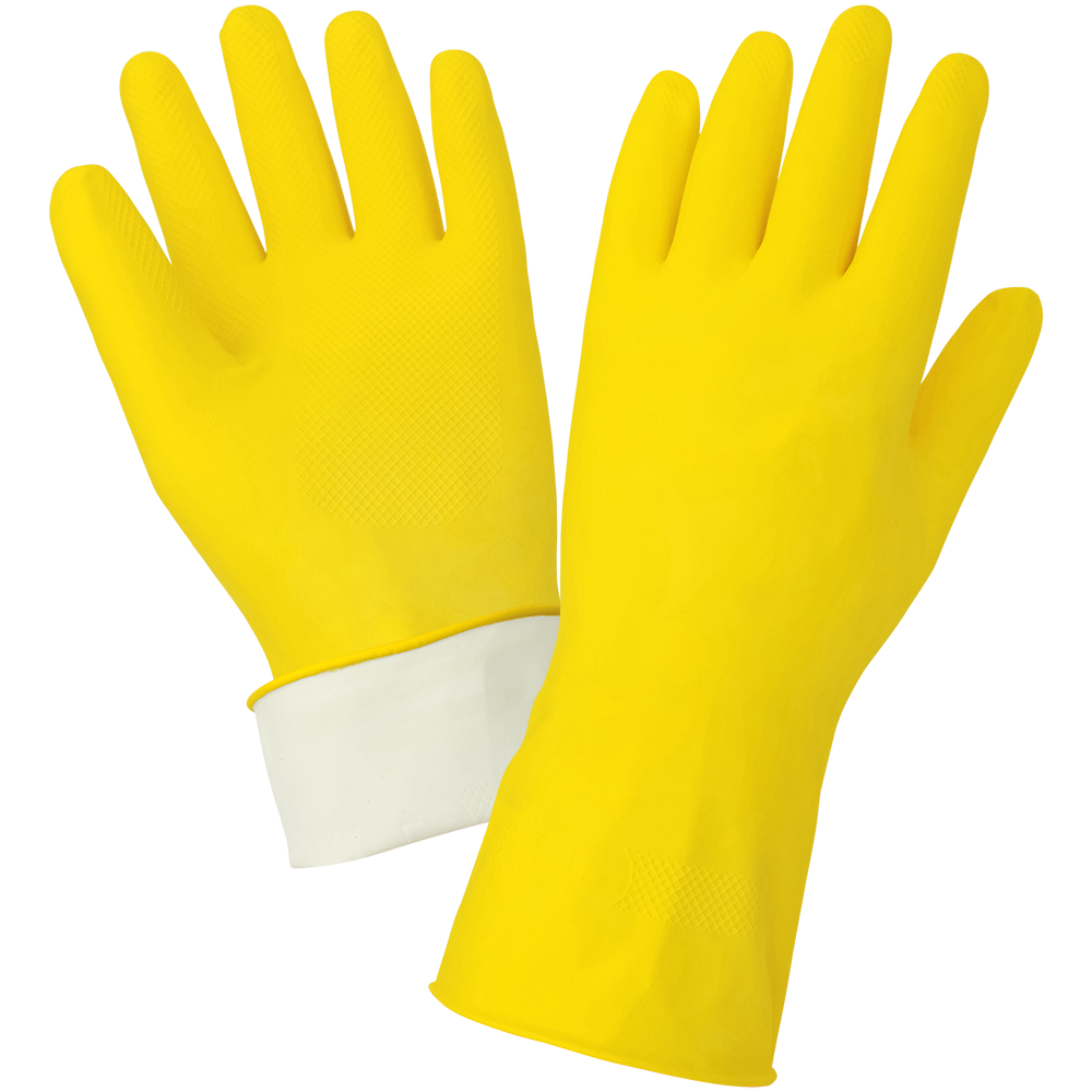 Latex Gloves, 18 mil Yellow Flock Lined, Small. 12 Pair/Pkg