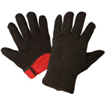 Heavy Weight Red Lined Brown Jersey Gloves, Large. 12 Pair/Pkg