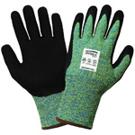 Samurai Gloves, Enhanced Seam Free High-Visibility Tuffalene Brand, Black Mach Finish Nitrile Dipped Palm, ANSI Cut Level A4, XS, 12 Pair/Pkg