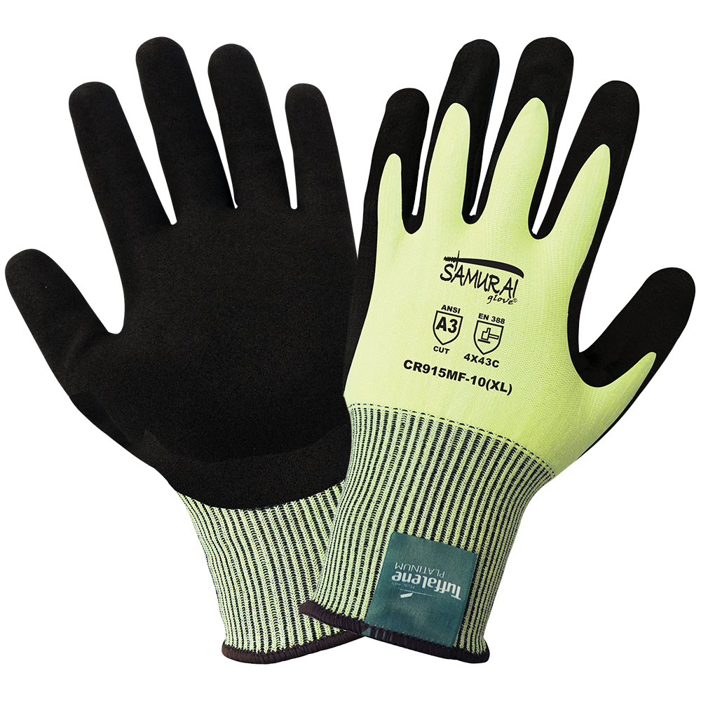 Samurai Gloves, High Visibility Cut Resistant Made With Tuffalene Platinum, ANSI Cut Level A3, XS, 12 Pair/Pkg