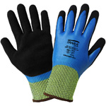 Samurai Gloves, Black Mach Nitrile Palm Coat + Blue Nitrile  Full Smooth Coat On 15 Gauge Tuffalene Brand Liner, ANSI Cut Level A4, Small, 12 Pair/Pkg