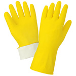 Latex Gloves, 18 mil Yellow Flock Lined, Small, 12 Pair/Pkg