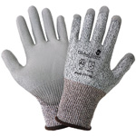 PUG111 Gloves, 13-Gauge Salt and Pepper HPPE Shell, Gray Polyurethane Dipped Palm, Knit Wrist, Cut Resistant ANSI Cut Level A2, XS, 12 Pair/Pkg