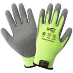 Samurai Gloves, Cut Resistant Liner With Gray Polyurethane Dipped Palm, 3 Touchscreen Responsive Fingertips, ANIS Cut Level A4, Small, 12 Pair/Pkg