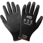 Samurai Gloves, Tuffkut Black Cut Resistant Liner With Black Polyurethane Dipped Palm, 3 Touchscreen Responsive Fingertips, ANSI Cut Level A4, XS 12 Pair/Pkg