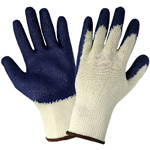 Blue Latex Medium Weight String Knit Glove - Large, 12/Pair/Pkg