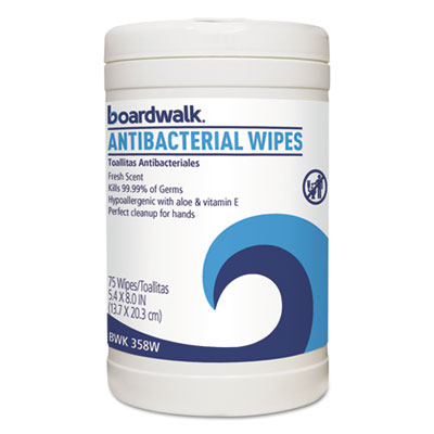 Boardwalk® Antibacterial Wipes, Fresh Scent, 75/Canister.  6/Cs