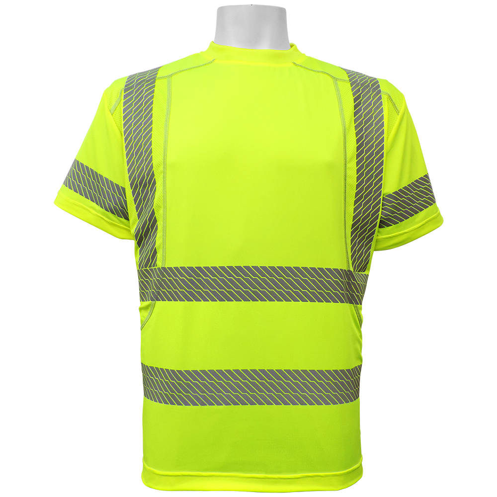 Ansi Class 3 Lime Short Sleeve Microfiber Stretch Shirt, Segmented Reflective Stripes