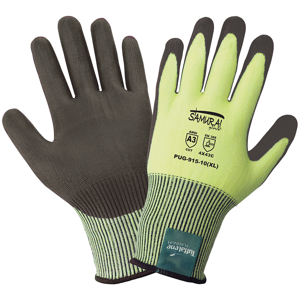 Samurai Gloves, High Visibility Neon Tuffalene Platinum Brand UHMWPE Seamless Liner, Black Polyurethane Palm Dipped, Cut Resistant, ANSI Cut Level A3, XS, 12 Pair/Pkg