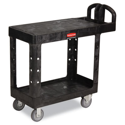 "Flat Shelf Utility Cart. 37-9/10""W x 19-1/5""D. Black. 1/Ea"