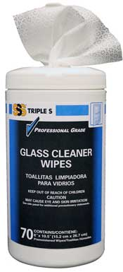 Triple S® Glass Cleaner Wipes, 70/Canister. 6/Case.