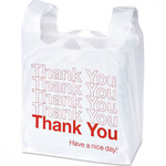 "T-Shirt Bag. White/Red ""Thank You."" 900/Cs"