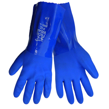 Frogwear® Premium Super Flexible Blue PVC. Small. 12 Pairs