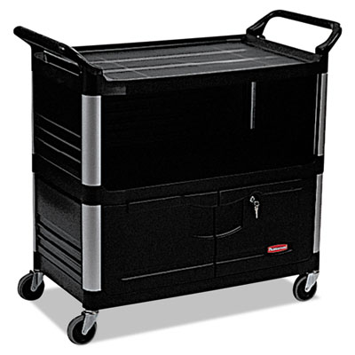 3-Shelf AV/Equipment Cart, Lockable Enclosed Shelf. Black. 1/Ea