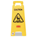 Folding Floor Sign. Caution, Multilingual. 1/Ea