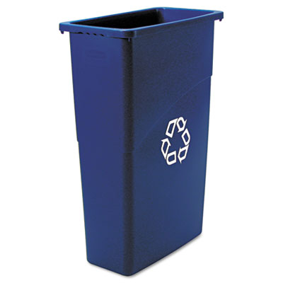 Slim Jim Recycling Container w/Vent Channels, 23 gallon, Blue 1/Ea